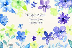 Watercolor Cheerful daisy Blue Green