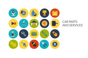 Flat icons set - Car and Services