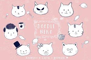 Hand-drawn KAWAII Doodle Cats