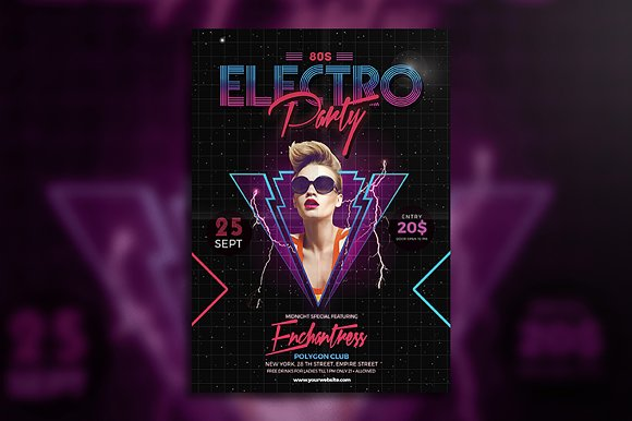 80's Electro Party Flyer
