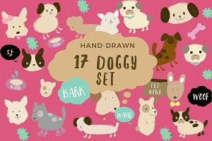 Hand-drawn Vector 17 KAWAII dogs