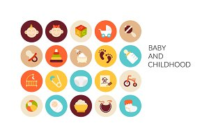 Flat icons set - Baby and Childhood