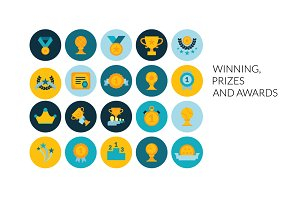 Flat icons set - Prizes & Awards