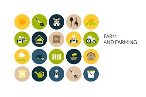 Flat icons set - Farm and Farming
