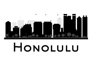 Honolulu City skyline silhouette