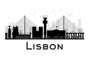 Lisbon City skyline silhouette