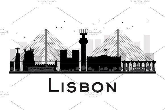 Lisbon City skyline silhouette