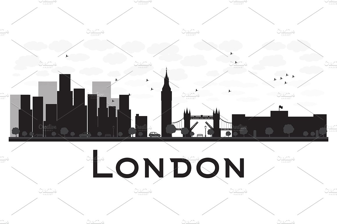 London City Skyline Silhouette Illustrations Creative Market