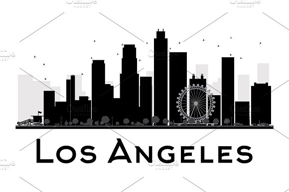 los angeles city skyline silhouette illustrations