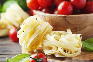 Italian raw pasta on the table