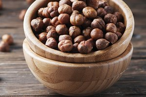 Healthy raw hazelnut