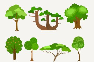 11 cartoon trees collection.