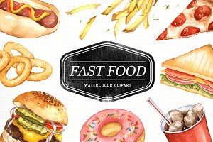 Fastfood watercolor clipart