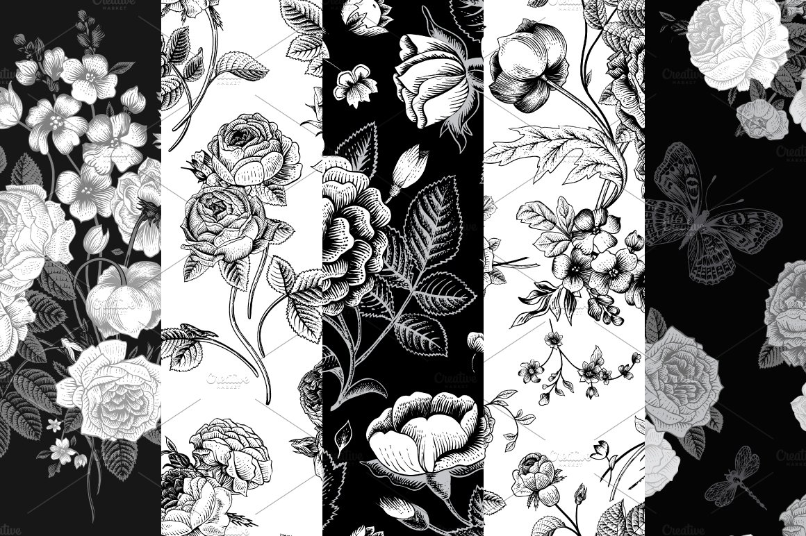 Abstract Floral Vintage Black & White Pattern - Vector ...   Black Floral Vintage Pattern