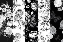 Set of vintage floral pattern B & W