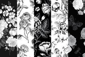 Set of vintage floral pattern B & W