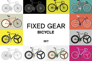 Flat fixed gear bicycle set