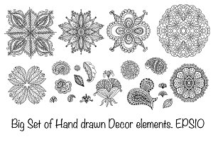 Henna decor elements set. Vector.
