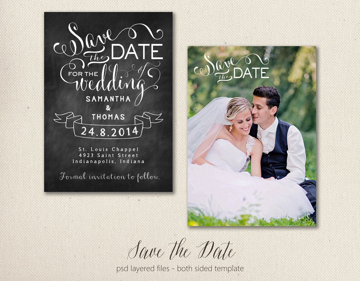 Save the Date Card Template 5x7 ~ Objects ~ Creative Market