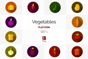 Vegetables flat icon set 1