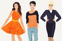 Girls in different dress styles.