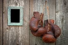 Old boxing gloves and frame