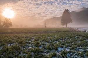 Misty sunrise at the countryside