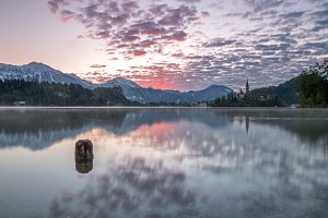Vivid sunrise at lake Bled