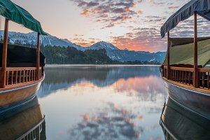 Boats at lake Bled at Sunrise