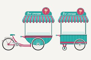2 style ice cream bicycle carts.