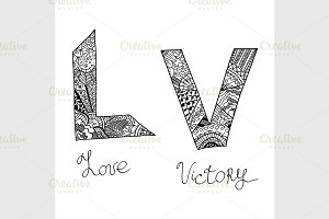 word Victory and Love
