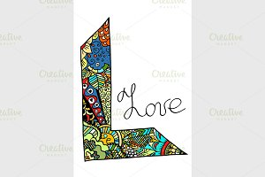 Word love art stylized