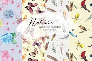 Watercolor Seamless Pattern - Nature