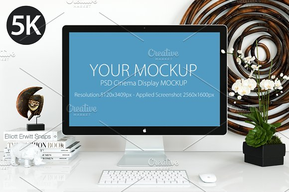 Free Cinema Display Mockup 5k
