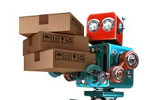 Delivery courier Robot delivering package. Isolated. Contains clipping path