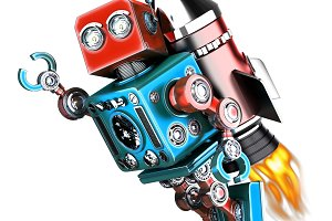 Flying retro robot. Isolated. Contains clipping path