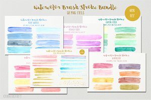 Watercolor Brush Stroke Bundle