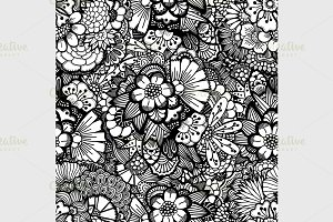 Hand drawn floral wallpaper