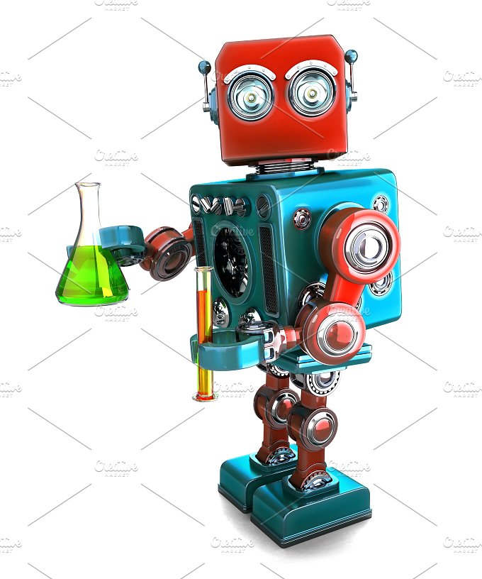 Retro robot with laboratory glassware. Isolated. Contians clipping path - Technology