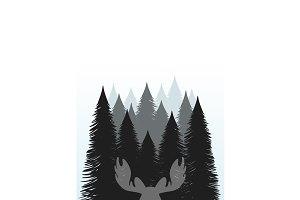 Hunting emblem forest