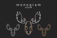 Monogram elk. Totem moose
