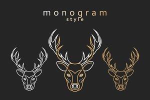 Monogram deer. Totem deer