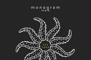 Elegant octopus monogram