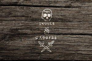 Skulls & Daggers Vector Clipart