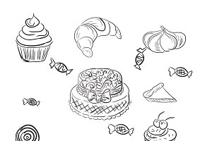 cakes and desserts, bakery, sketch