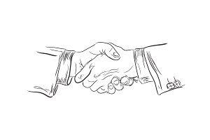 Business handshake, sketch