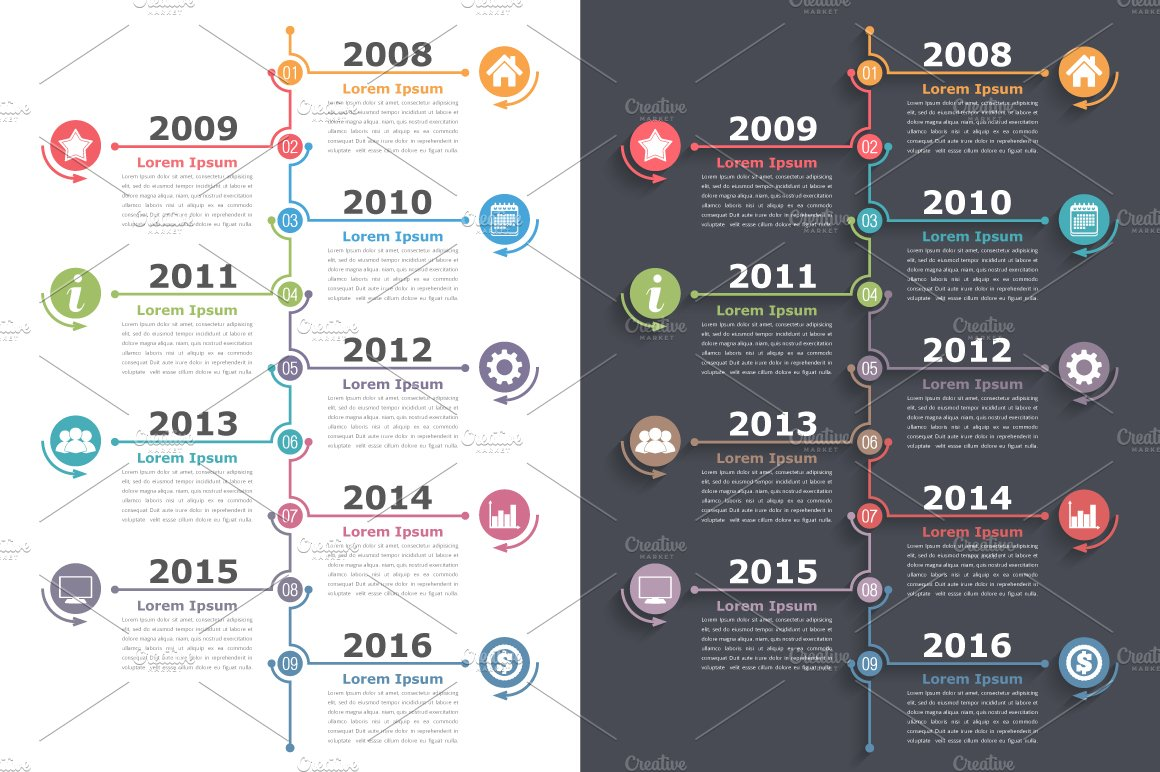 timeline graphics creative market
