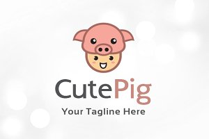 Cute Pig Logo Template