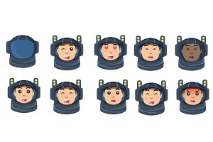 astronaut emotion icons set