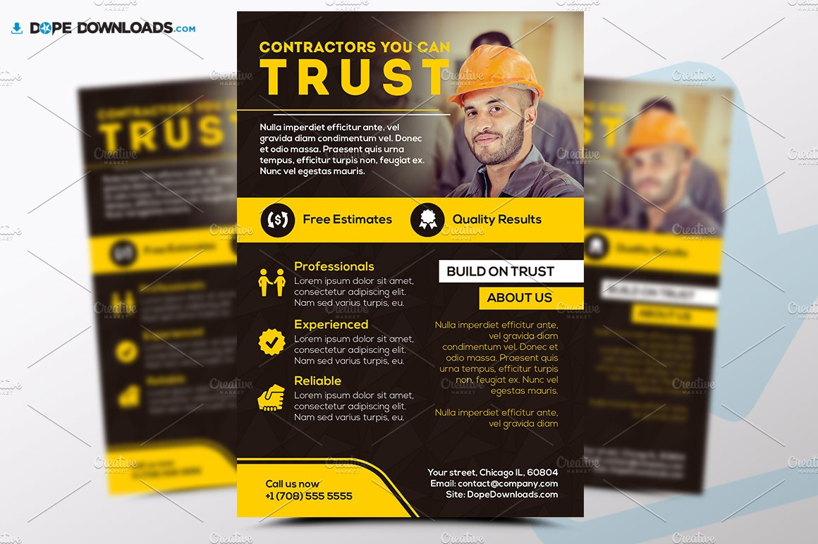 Construction Services Flyer : Contractors flyer template templates creative market
